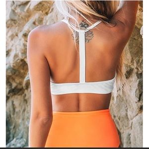 Cupshe Swim - CUPSHE WHITE ORANGE V NECK TWIST HIGH WAISTED SET